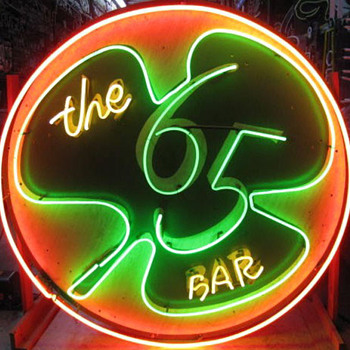 Vintage 1960's Neon THE 65 BAR sign 2-sided / Two neon IRISH