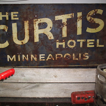 Curtis Hotel Roadside Tin Sign - Signs