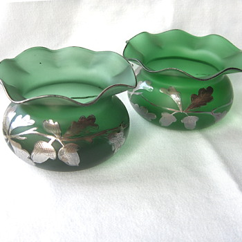 Perfect Pair of Green Goldberg Crimped Vases or Bowls Silver Oak leaves & Acorns - Art Glass