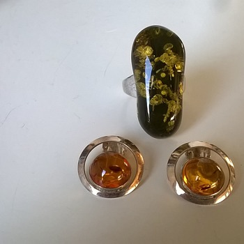 Spangle Amber & Sterling Silver Ring + Sterling Silver & Amber Earrings, Thrift Shop Find $2.50 - Fine Jewelry