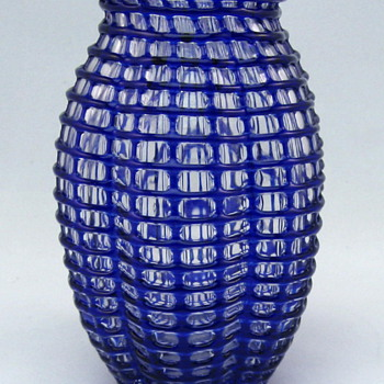 Loetz Cobalt Ausführung 143 Threaded Vase from 1910 - Art Glass