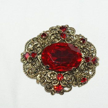 Vintage Brooch and Earrings Made in Czechoslovakia - Costume Jewelry
