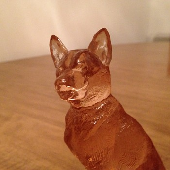 New Martinsville Pink German Shepherd Figurine, Oval Base  - Glassware
