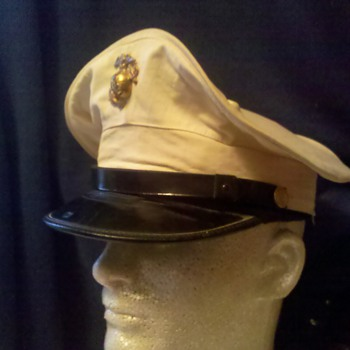 "nice pre WWII USMC Marine Corps dress hat with ""Sea-going Dip"" 1936 - Military and Wartime"