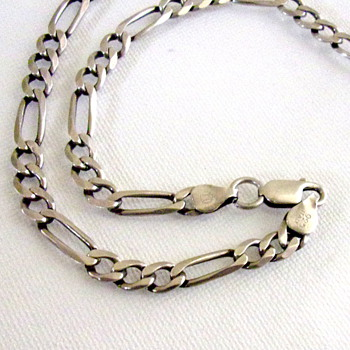 Silver Figaro Necklace from Italy with unknown Hallmark - Fine Jewelry