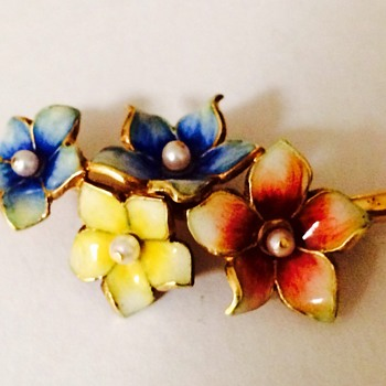 Italy Gold and Enamel Flower Brooch - Fine Jewelry