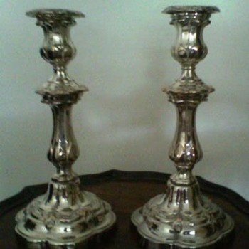 Silver plated candlesticks from Grandad's dining room - Victorian Era