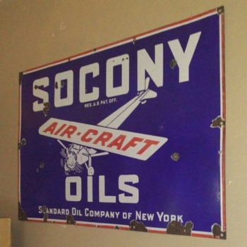 Porcelain Socony Aircraft Oils Sign
