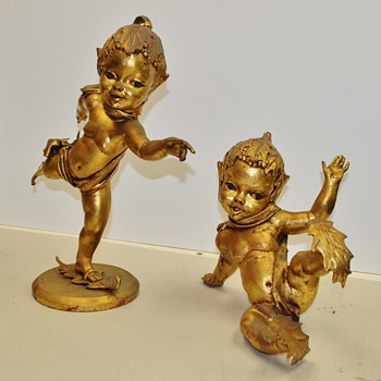 2 Gold Gilded Skating Elves