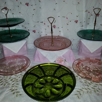 Mixture of Green and Pink  - Glassware