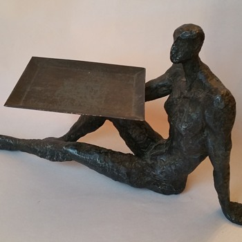 "Iron Nude Sculpted Man Holding Tray ""Need Help ID""  - Visual Art"