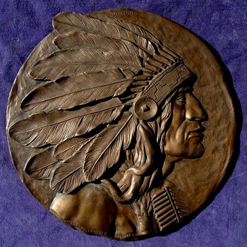Beautiful 1905 Solid Bronze Plaque of a Native American Indian Given as a Prize to the Top N.C.R. Salesman!