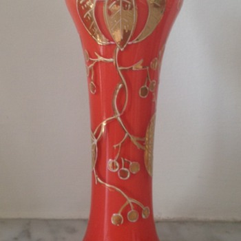 Enamelled tango glass vase - cherries - Art Glass