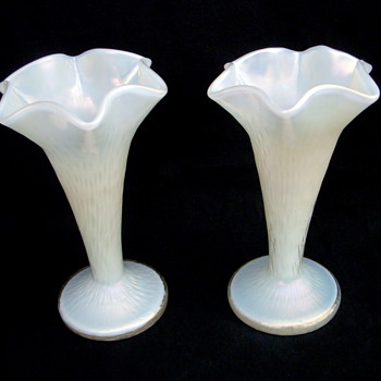 Kralik Martele Mother of Pearl Trumpet Vase Set #2 - Art Glass