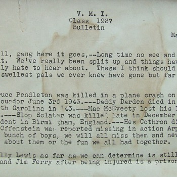 V. M. I. 1937 Class Bulletin of May 29, 1945, Very Interesting Reading. - Military and Wartime