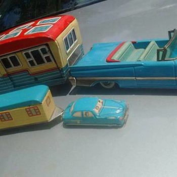 Japanese tin toy cars with trailers!!! 1950's/60's...