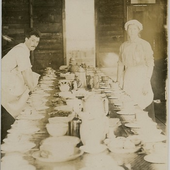 Lumbermans camp dining table 1916 Northern Wis.
