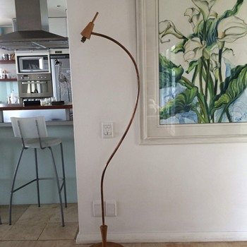 Vintage copper swan neck floor lamp with wooden stepped base