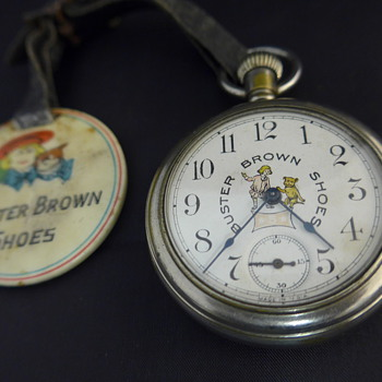 1910 Buster Brown Shoes Pocket Watch and Watch Fob