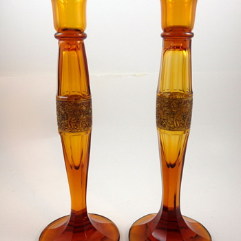 Moser signed Amazon Friese Candlesticks, ca. 1920 - Art Glass