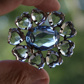 Costume Brooch with Plastic Heart Stones and Blue Center  - Costume Jewelry