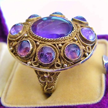 Vintage Deco Chinese Amethyst Cab Gilt Silver Filigree Ring  - Fine Jewelry
