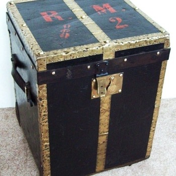 German Leather & Brass Hat Trunk by Karl Kramer - Furniture
