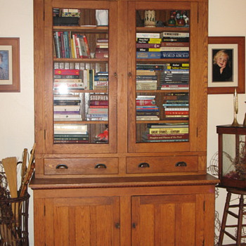 LARGE ANTIQUE OAK COUNTRY STORE DISPLAY UNIT
