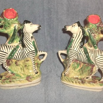(Staffordshire Porcelain?) Zebra and Snake Spill Vases - Figurines