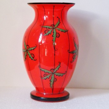 Art Deco Red Czechoslowakia Tango Enamel Glass Vase 8.25""