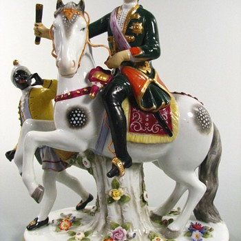 Antique Frankenthal Empress Elizabeth on Horseback Figurine