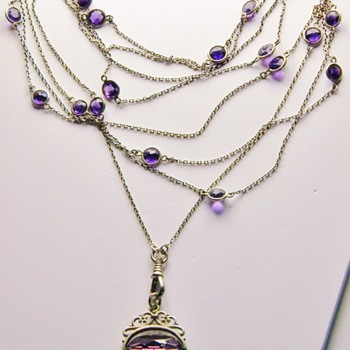 Antique Victorian Amethyst Muff Chain 900 Silver Necklace 64&quot;  - Fine Jewelry