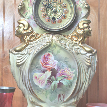 possibly a 1900 Ansonia Clock w/ Royal Bonn Porcelain Case