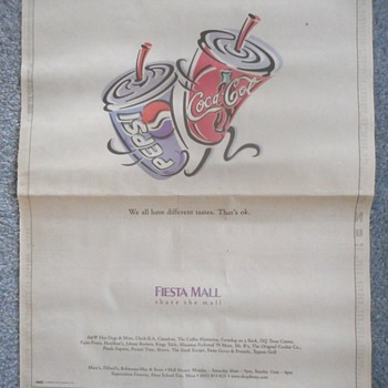 Coke drink dancing with Pepsi ~ Newspaper ad