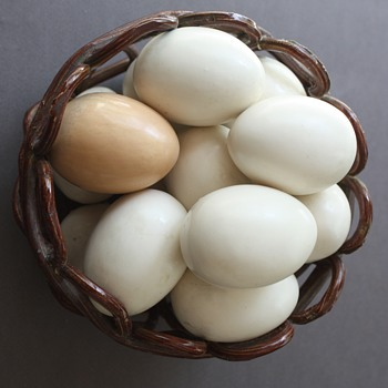 Ceramic Eggs in Ceramic Basket - Art Pottery