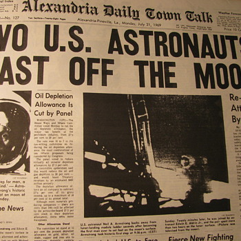 Historic Front page News -- Blasting off from the Moon - Paper