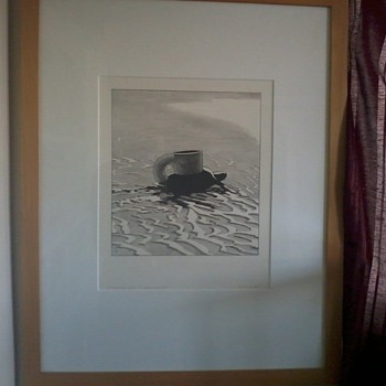 "KEN PRICE, bold Sketch, ""Turtle Cup on Wet Sand"", signed and dated 1969 - Posters and Prints"