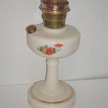 Odd Aladdin Glass Base With Floral Transfer