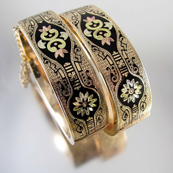Antique Victorian 14k multi color gold Taille d' Epergne enamel wedding bracelets - Fine Jewelry