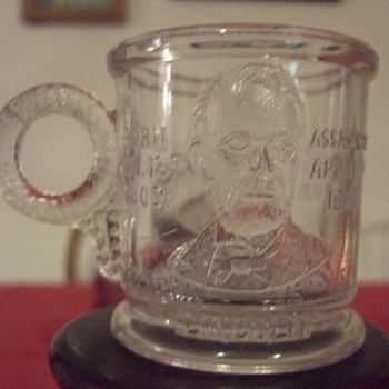 "1881 antique victorian pressed glass 1881 ""Our Country's martyrs"" assasinated presidents mug  - Glassware"