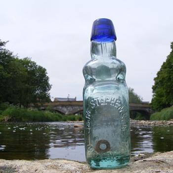 J & M Stephenson Morpeth bulb neck blue lip codd bottle - Bottles