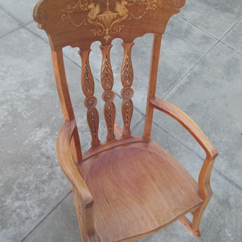 Inlaid cherrywood rocker by an unknown maker - Furniture