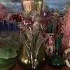 Kralik?? Applied flower opalescent vase