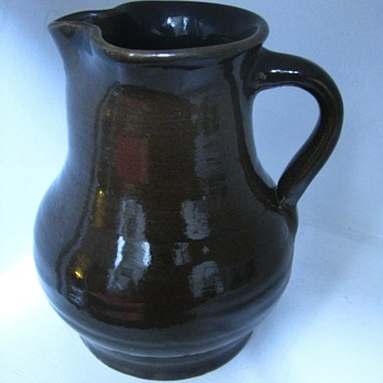 Large Alkaline Stoneware Pitcher, D.M. Pound, Old Alabama Stoneware. Marked