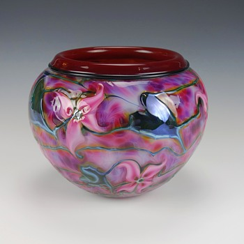 CHARLES LOTTON MULTI FLORA ART GLASS VASE