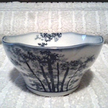 Small Chinese/Japanese Porcelain Blue and White Bowl with Bamboo Design / Unknown Maker and Age - Art Pottery