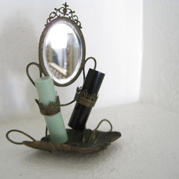  1800&#039;s ?Antique Brass ? Lipstick Holder with Tray and Beveled Mirror 6&quot; Tall - Accessories