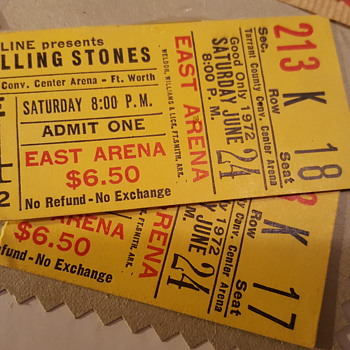"Rolling Stones 06-24-1972 ""STP"" American tour ticket stubs"