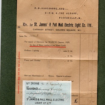 Early Energy Bill 1929 St James & Pall Electric Light Co Ltd to P B Vanderbyl Esq Piccadilly London - Paper
