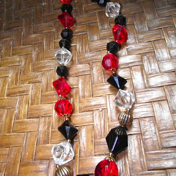 Striking Red, Black and Clear plastic beads - Costume Jewelry